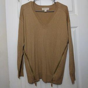 Michael Micheal Kors Sweater Beige Brown Gold Zip